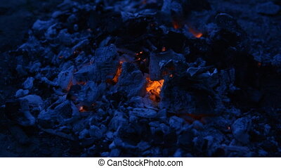 Hot coals at night, background. Burned wood