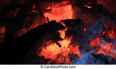Hot coals close - Smoldering coals close view