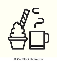 hot cocoa drink and cup cake decorated with candy for christmas food. editable outline
