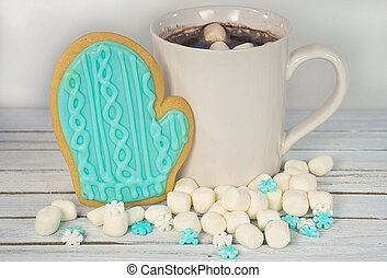 hot cocoa drink with cookie mitten - hot chocolate drink...