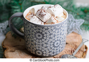 Hot Cocoa Drink with Marshmallow in a Mug on Christmas Background, Winter Chocolate or Coffee Beverage