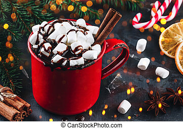 Hot cocoa or chocolate with marshmallows for Christmas.