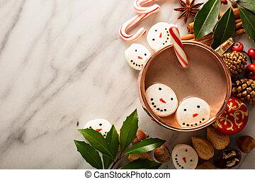 Hot cocoa with marshmallow snowmen