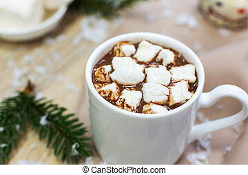 hot cocoa with marshmallows in white mug, cream and cookies on holiday christmas background.