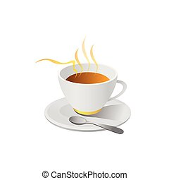 hot coffe illustration vector isolated on white background