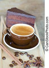 hot coffee and chocolate cake