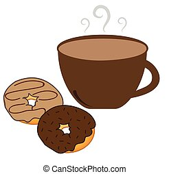 Hot Coffee and Donuts