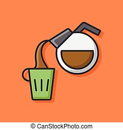 hot coffee color line icon