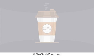 Hot coffee cup animation with steam - Hot coffee takeout cup...