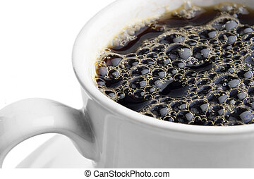 Hot coffee - Cup of coffee with bubbles on white