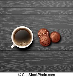Hot Coffee cup with candy vector