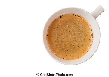Hot coffee cup with clipping path top view isolated on white background