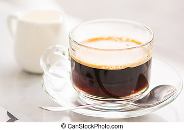 hot coffee for drink with fresh milk