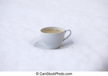 Hot coffee in the cold
