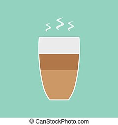 hot coffee latte cup icon- vector illustration
