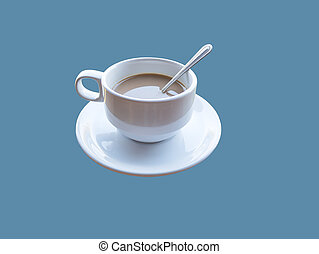 Hot coffee mug with saucer and a spoon