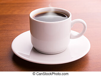 Hot coffee on a table