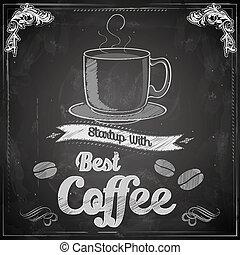 Hot Coffee on chalkboard - illustration of hot coffee on...