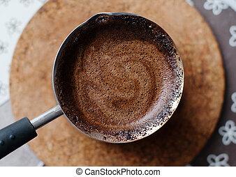 Hot coffee prepared in a Turk