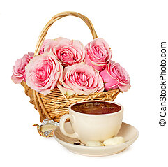 Hot coffee, sweets and roses on a white background