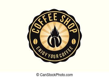 Hot Coffee , Vintage Badges Logo Designs Inspiration, Vector Illustration