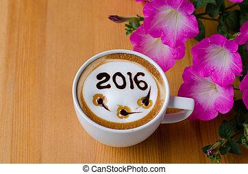 hot coffee with foam milk art 2016