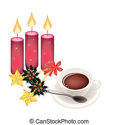 Hot Coffee with Golden Stars and Christmas Holly