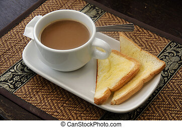 Hot coffee with toast butter