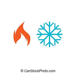 Hot, cold icon. Vector illustration, flat design.