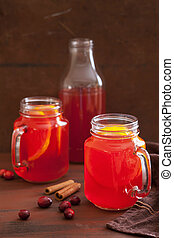 hot cranberry tea with orange cinnamon, warming drink