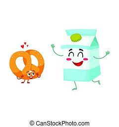 Hot crispy German pretzel and milk box characters, breakfast combination