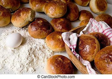 Hot Cross Buns - Close up detail of freshly baked hot cross...