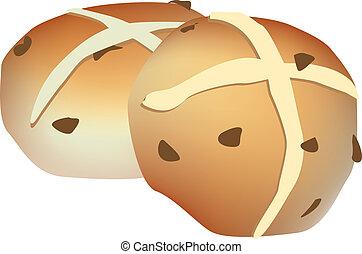 hot cross buns illustration on white background - vector...