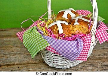 Hot cross buns in basket - Homemade Easter hot cross buns in...