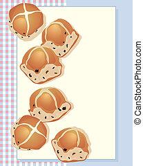 hot cross buns - an illustration of delicious hot cross buns...