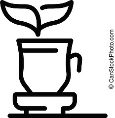 Hot cup leaf tea icon, outline style