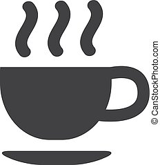 Hot cup of coffee icon in black on a white background. Vector illustration