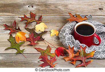 Hot cup of dark coffee for the Autumn Season