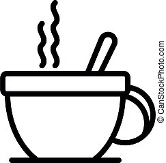 Hot cup of tea icon, outline style