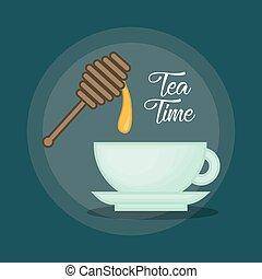 hot cup of tea sweeten with honey design