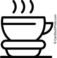 Hot cup tea icon, outline style