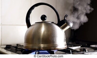 Hot cup tea kettle - Kettle on the stove cup table hot