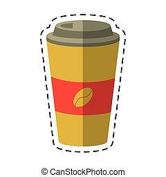 hot-cut, コーヒー, ペーパー, 線, カップ
