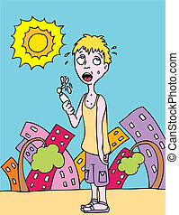 hot day - Man trying to stay cool using a fan on a hot ...