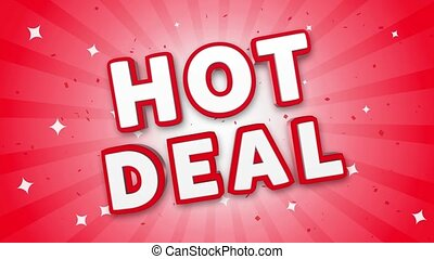 Hot Deal 3D Text on Red Sparkling Falling Confetti Background. ad, Promotion, Discount Offer Sale Loop Animation.