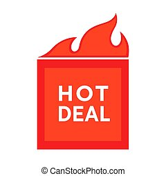 Hot deal advertising poster price reduction sticker with burning symbol