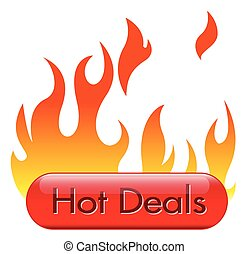 Hot Deal Button with Fire Vector Illustration