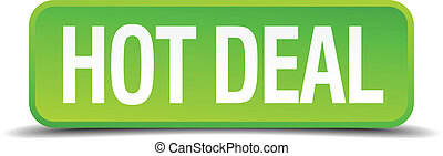 hot deal green 3d realistic square isolated button