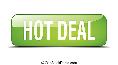 hot deal green square 3d realistic isolated web button
