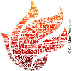 Hot Deal - Hot deal word illustration on white background.